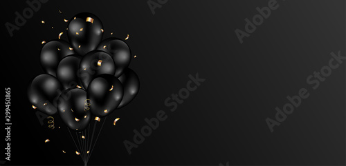 Leinwand Poster Black background design with dark shiny balloons bunch and glitter gold confetti