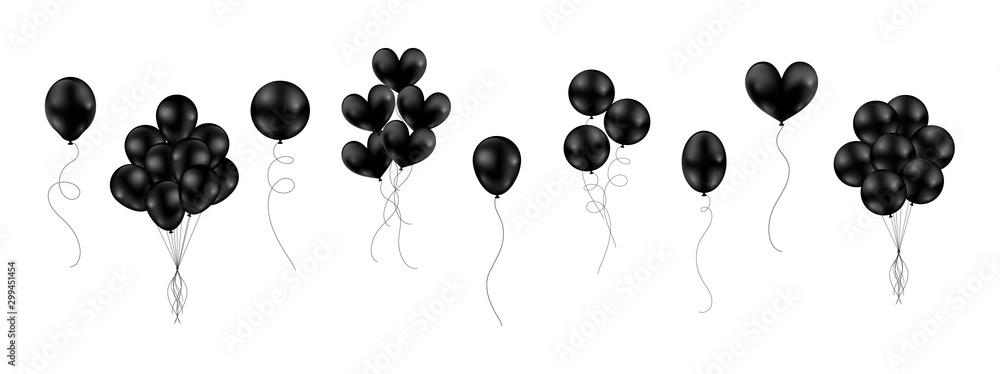 Fototapeta Big set of black shiny balloons different style isolated float on white background. Vector illustration.