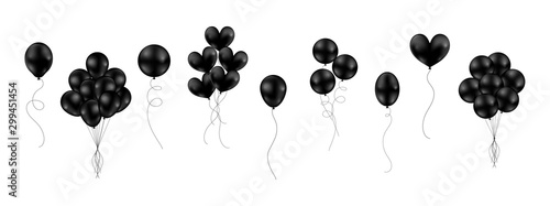 Fotografia, Obraz Big set of black shiny balloons different style isolated float on white background