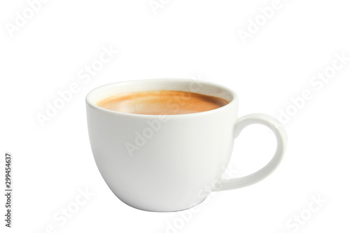 Leinwand Poster Isolate Hot Coffee in white mug cup on white background.