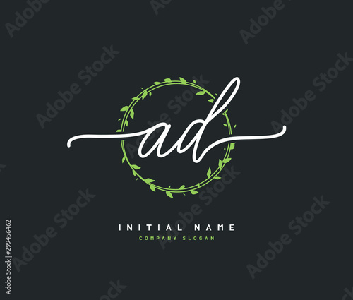 Fotomural  A D AD Beauty vector initial logo, handwriting logo of initial signature, wedding, fashion, jewerly, boutique, floral and botanical with creative template for any company or business