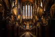 canvas print picture - GLASGOW, SCOTLAND, DECEMBER 16, 2018: Magnificent perspective view of interiors of Glasgow Cathedral, known as High Kirk or St. Mungo, with huge stained glasses. Scottish Gothic architecture.