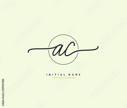 A C AC Beauty vector initial logo, handwriting logo of initial signature, wedding, fashion, jewerly, boutique, floral and botanical with creative template for any company or business Canvas Print
