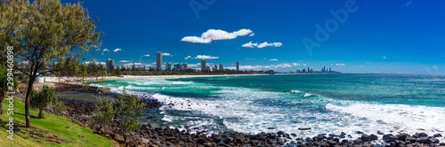 Valokuvatapetti Gold Coast skyline and surfing beach visible from Burleigh Heads, Queensland