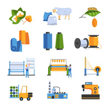 Textile Factory Isolated Icons...