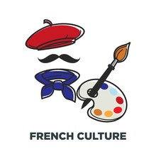 French Culture Symbols Of France Beret And Neckerchief Paintbrush And Palette