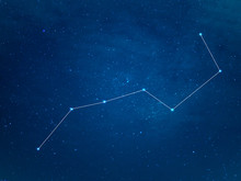Really North Sky With Big Dipper Constellation With Lines. Ursa Major Or The Great Bear At Starry Winter Night Sky.