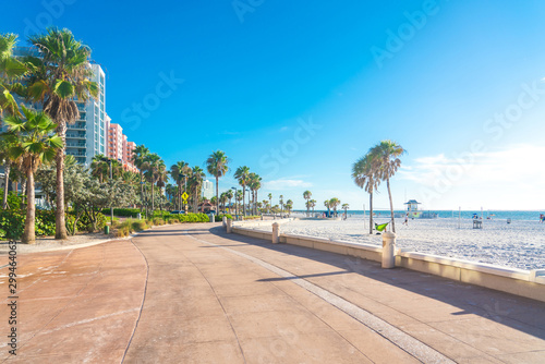 Poster Kust Clearwater beach with beautiful white sand in Florida USA