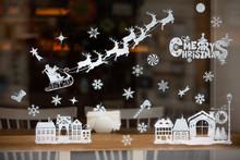 Christmas Holidays Decoration On Window Glass