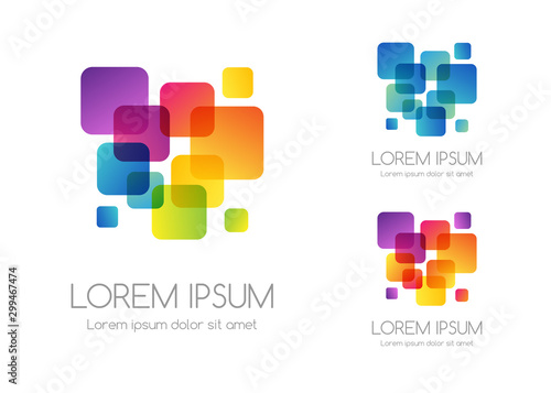 Fotografia, Obraz Abstract rainbow color logo. Colorful vector emblem.