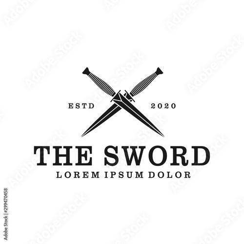 Sword dagger logo design, sharp weapon blade hunting medieval battle, minimalis simple icon silhouette Fotobehang