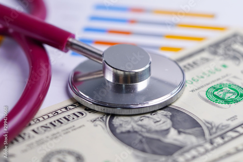 Fotomural  Stethoscope on US dollar banknotes, Finance, Account, Statistics, Analytic research data and Business company  medical health meeting concept