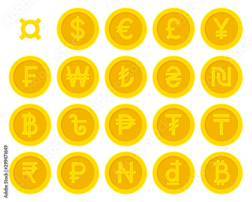 Fototapeta Golden yellow coins with currency symbols collection set. Vector illustration obraz