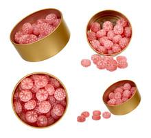 Pink Candy In Metal Jar, Set A...