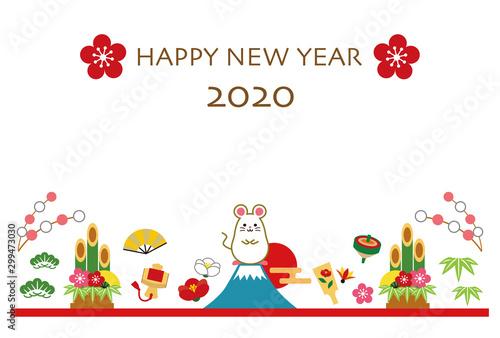Fototapeta 2020年 子年 年賀状 テンプレート obraz