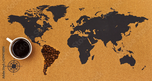 Amérique du Sud Cup of black hot coffee on a map. South America made of coffee beans. Top view.