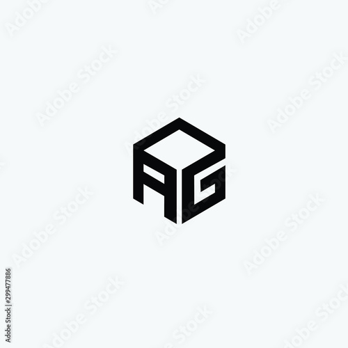 Photo AG initials letter creative logo icon vector black color free download