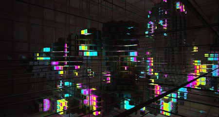 Abstract architectural rusted metal interior from an array of concrete cubes with color gradient neon lighting. 3D illustration and rendering.