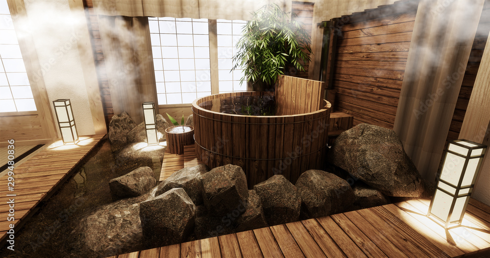 Fototapeta Onsen room interior with wooden bath and decoration wooden japanese style.3D rendering