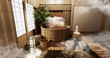 Leinwanddruck Bild - Onsen room interior with wooden bath and decoration wooden japanese style.3D rendering