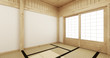 Leinwanddruck Bild Empty yoga room inteior with tatami mat floor.3D rendering
