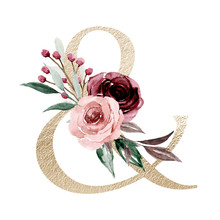 Floral Alphabet, Ampersand With Watercolor Flowers And Leaf. Gold Monogram Initials Perfectly For Wedding Invitations, Greeting Card, Logo, Poster And Other Design. Holiday Design Hand Painting.