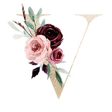 Floral Alphabet, Letter V With Watercolor Flowers And Leaf. Gold Monogram Initials Perfectly For Wedding Invitations, Greeting Card, Logo, Poster And Other Design. Holiday Design Hand Painting.