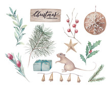 Watercolor Set With Christmas Tree, Mistletoe, Rosemary, Holly, Gift Boxes, Mouse And Olive Branches On White Background. Hand Drawn Sketch Illustration. Winter Botanical Collection