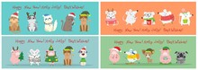 Vector Illustration Of Christmas Cats, Rats And Dogs With Christmas And New Year Greetings. Cute Pets With Holiday Hats