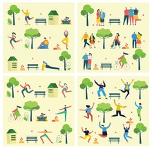 Vector Nature ECO Backgrounds With Different People, Couple Doing Activities, Walking And Have A Rest Outdoor, In The Forest And Park In The Flat Style