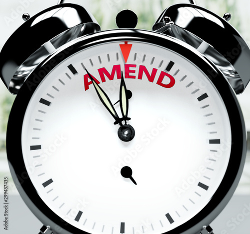 Amend soon, almost there, in short time - a clock symbolizes a reminder that Ame Canvas Print