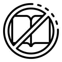 No Book Reading Icon. Outline ...