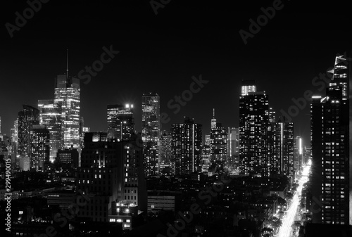 Fototapeta Night view of Midtown Manhattan and Hell's Kitchen, black and white obraz
