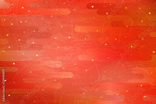 Fotografia  雲と伝統模様による和風背景(赤)