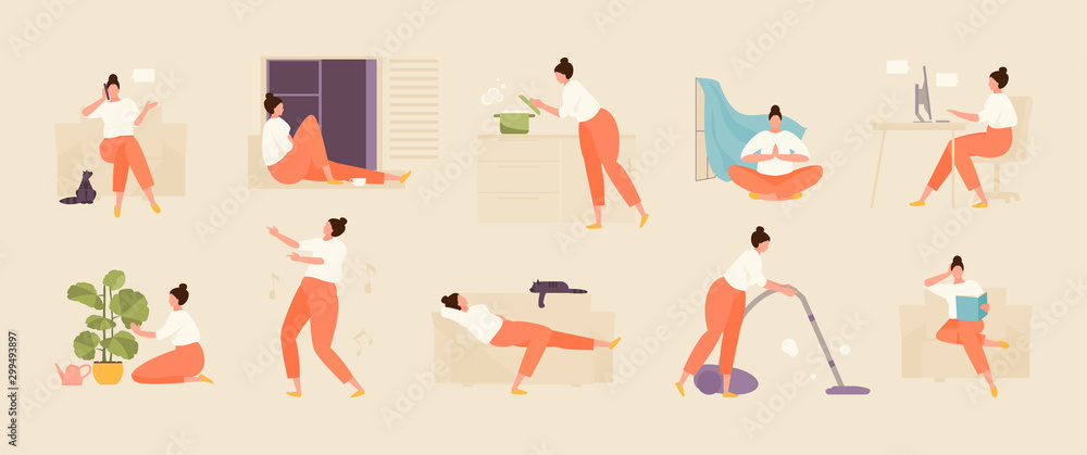 Fototapeta Girl character spends time at home. Home life and leisure set. Vector flat illustration