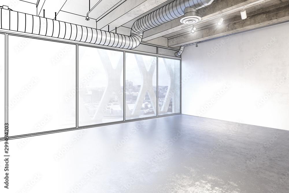 Fototapety, obrazy: Empty Penthouse Space (draft)