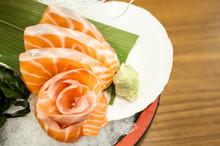 Sliced Salmon Sashimi Served O...