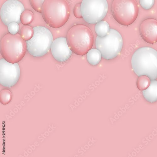 Fototapety, obrazy: Color Glossy Happy Birthday Balloons Banner Background Vector Illustration