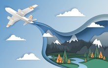 Flying Airplane, Vector Illust...