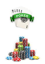 Stack Of Colored Casino Chips With Playing Cards Isolated On A White Background. Big Win Jackpot Poker In Online Web Casino Illustration. Realistic Luxury Fortune Banner With Playing Cards Games Bet