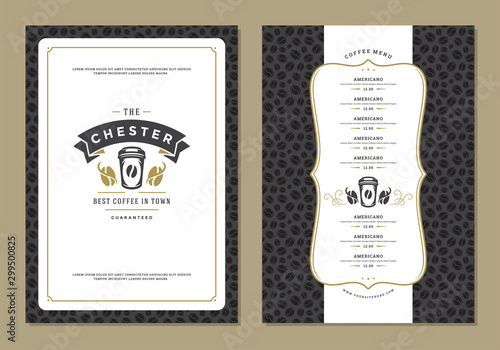 Fototapety, obrazy: Coffee menu design template flyer for bar or cafe with offee shop logo cup symbol vector Illustration.