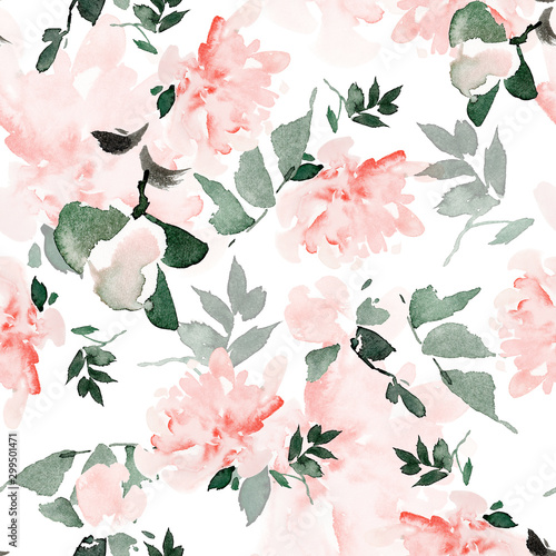Fototapeta Seamless summer pattern with watercolor flowers handmade. obraz
