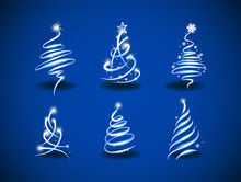 Collection Of Modern Abstract Christmas Trees