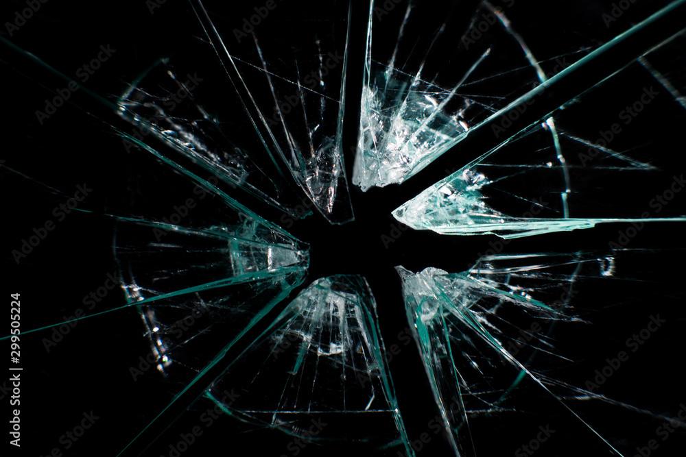 Fototapeta broken glass dark background