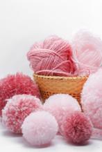 Pink Pompom Balls And Yarns
