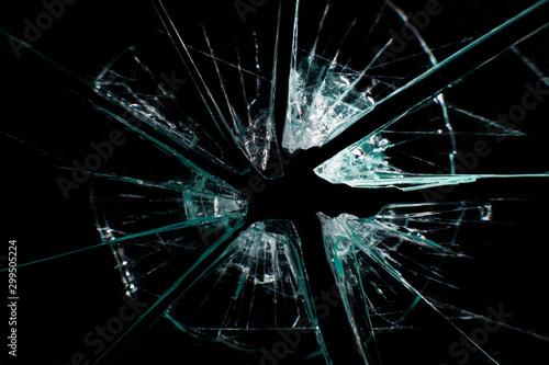 broken glass dark background Fotobehang