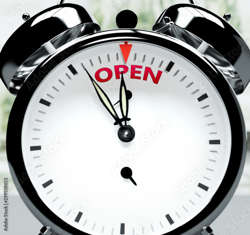 Fotografija Open soon, almost there, in short time - a clock symbolizes a reminder that Open