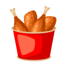 Fried Chicken In Red Bucket. F...
