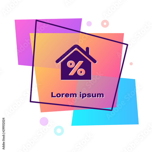 Fotomural  Purple House with percant discount tag icon isolated on white background