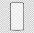 Simple smartphone mockup with blank checkered transparent screen.